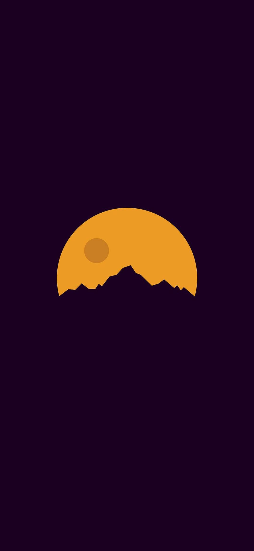 シンプル 山と月のイラスト Oppo Reno A Android スマホ壁紙 待ち受け スマラン
