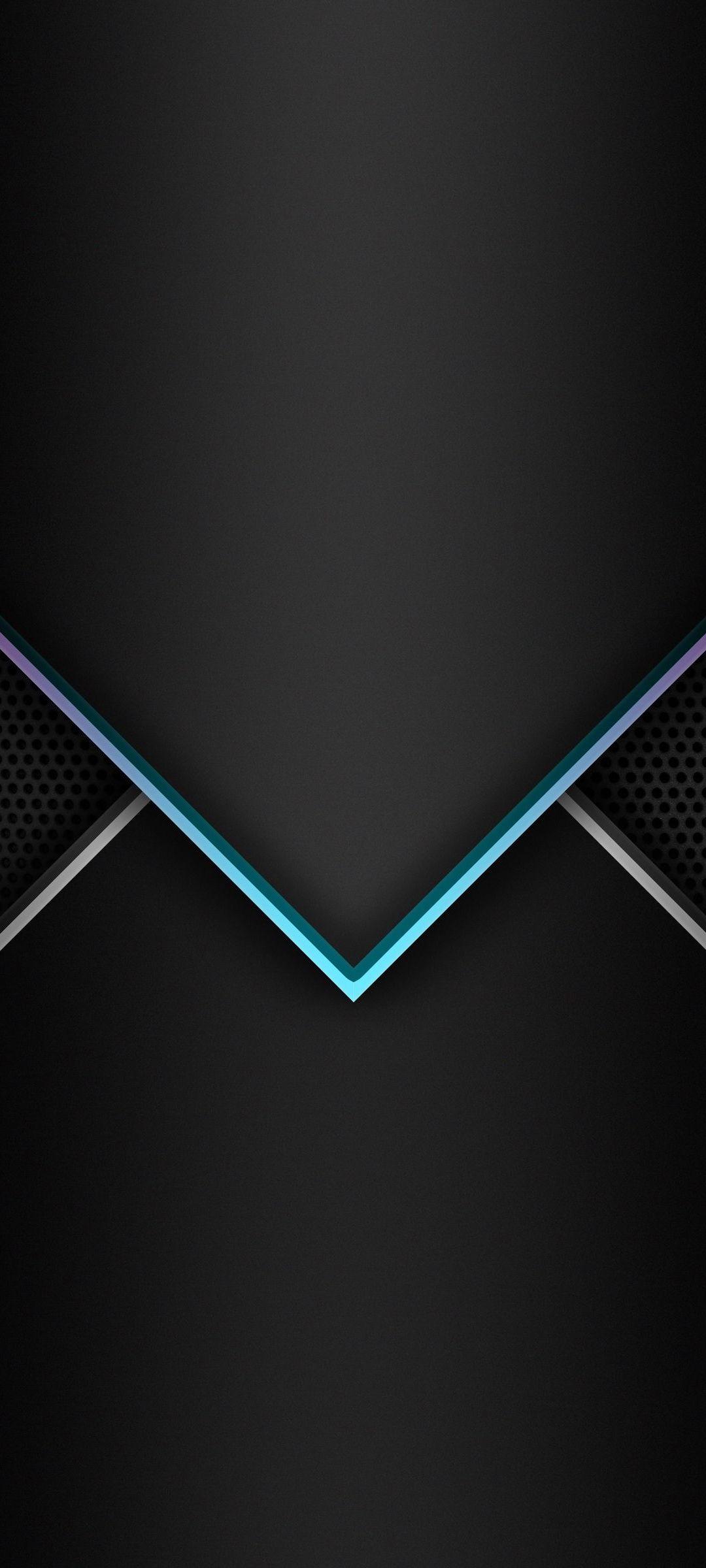 シンプル 青と白の矢印 黒の背景 Zenfone 7 Androidスマホ壁紙 待ち受け スマラン