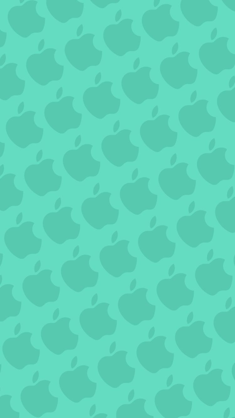 アクア・ミント アップルのロゴ パターン iPhone 7 スマホ壁紙・待ち受け
