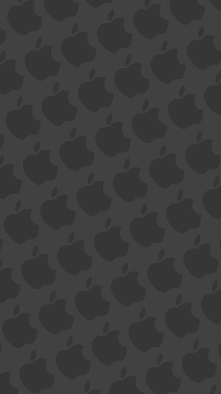 マット・ネイビー アップルのロゴ パターン iPhone 7 スマホ壁紙・待ち受け