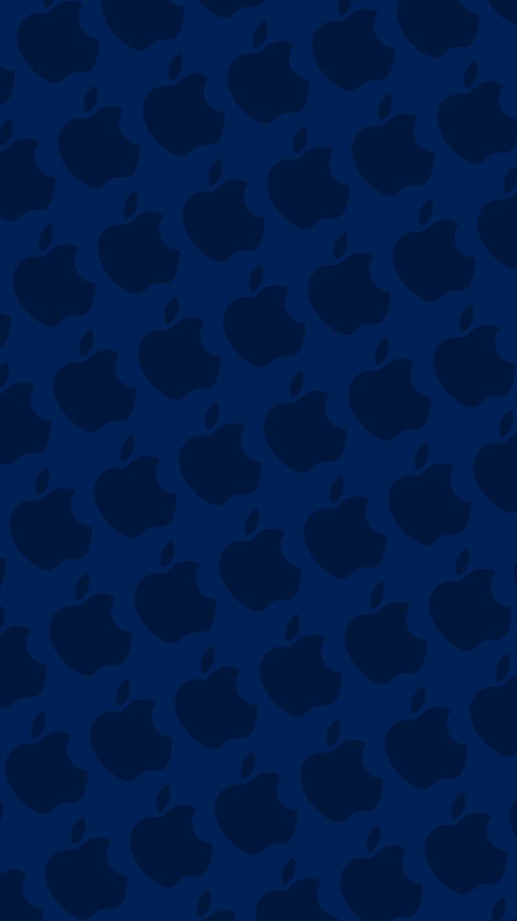ピュア・ブルー アップルのロゴ パターン iPhone 7 スマホ壁紙・待ち受け