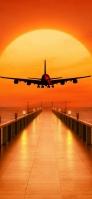 桟橋と赤い飛行機と夕日 Redmi Note 9T Androidスマホ壁紙・待ち受け