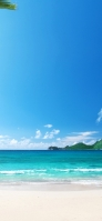 Midsummer beach and distant island Redmi 9T Android スマホ壁紙・待ち受け