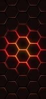 Black and orange A brightly shining hexagon Redmi 9T Android スマホ壁紙・待ち受け