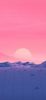 ピンクの夕日 ポリゴンの土地 Redmi Note 9T Androidスマホ壁紙・待ち受け