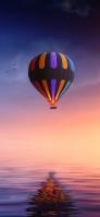虹色のバルーン 海 鏡面 鳥 Redmi Note 9T Androidスマホ壁紙・待ち受け