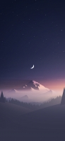 Illustration of a beautiful starry sky, crescent moon and snowy mountains Redmi 9T Android スマホ壁紙・待ち受け
