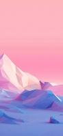 青とピンクのポリゴンの景観 Galaxy A30 Android 壁紙・待ち受け