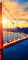赤い橋と海と夕日 iPhone 11 Pro スマホ壁紙・待ち受け