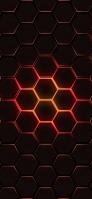 赤と黒の六角形 iPhone 11 Pro スマホ壁紙・待ち受け