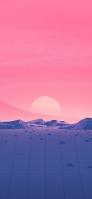 淡いピンクの空と区切られた土地 iPhone 11 Pro スマホ壁紙・待ち受け