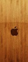 綺麗な木目 Apple ロゴ iPhone 12 スマホ壁紙・待ち受け