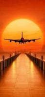 赤い夕陽と飛行機 iPhone 12 スマホ壁紙・待ち受け