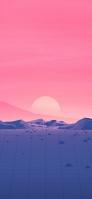 ピンクの夕日とポリゴンの道 iPhone 12 スマホ壁紙・待ち受け