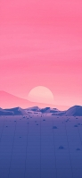 ピンクの空 夕日 山 グリッド状の道 iPhone 12 Pro スマホ壁紙・待ち受け