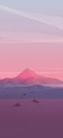 赤みがかった土地 ポリゴンの山 iPhone 12 Pro スマホ壁紙・待ち受け