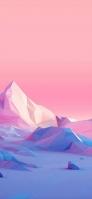 ピンクのグラデーション 青・ピンクのポリゴン iPhone 12 Pro スマホ壁紙・待ち受け