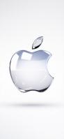 シルバー 3D Apple ロゴ iPhone 12 スマホ壁紙・待ち受け