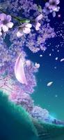舞い散る紫の花 夜 星空 iPhone 12 Pro スマホ壁紙・待ち受け