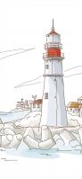 白と赤の灯台 イラスト iPhone 12 スマホ壁紙・待ち受け