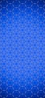 青の六角形 シルバーのメタル iPhone 12 スマホ壁紙・待ち受け