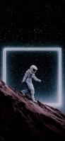 月の斜面を歩く宇宙飛行士 iPhone 12 Pro スマホ壁紙・待ち受け