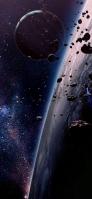 黒い銀河 大きな惑星 隕石 iPhone 12 Pro スマホ壁紙・待ち受け