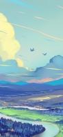 青い鳥 のどかな風景のイラスト iPhone 12 スマホ壁紙・待ち受け