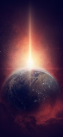 地球と赤い光 iPhone 12 スマホ壁紙・待ち受け