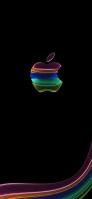 カラフル 半透明なAppleロゴ iPhone 12 スマホ壁紙・待ち受け