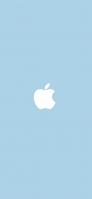 パステルカラー ブルー アップルのロゴマーク iPhone 12 スマホ壁紙・待ち受け