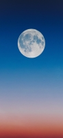 青とオレンジのグラデーションの空 満月 iPhone 11 Pro Max スマホ壁紙・待ち受け
