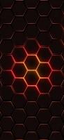 黒い六角形 オレンジの枠 iPhone 11 Pro Max スマホ壁紙・待ち受け