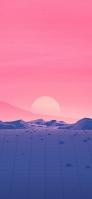 ピンクの夕焼けとポリゴンの土地 iPhone 11 Pro Max スマホ壁紙・待ち受け