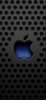 黒いメタル 青のアップルのロゴ iPhone 11 Pro Max スマホ壁紙・待ち受け
