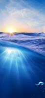 海 青い水 太陽 iPhone 11 Pro Max スマホ壁紙・待ち受け