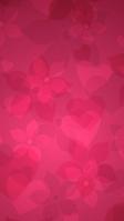 ガーリーなピンクの花とハートのテクスチャー iPhone SE (第2世代) スマホ壁紙・待ち受け