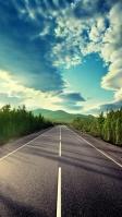 アスファルトの道路 白線 青空 大自然 iPhone SE (第2世代) スマホ壁紙・待ち受け