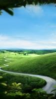 澄んだ空と緑の丘陵地帯 iPhone SE (第2世代) スマホ壁紙・待ち受け