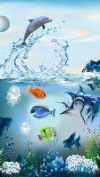 海の中 イルカやクラゲやサンゴ iPhone SE (第2世代) スマホ壁紙・待ち受け