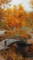 秋 石の橋とオレンジの樹木 iPhone SE (第2世代) スマホ壁紙・待ち受け