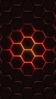 燃えるような赤と黒の六角形 iPhone SE (第2世代) スマホ壁紙・待ち受け