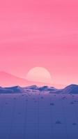 ピンクの空と夕日、ポリゴンの道 iPhone SE (第2世代) スマホ壁紙・待ち受け