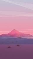 ピンクに染まる空 ポリゴンの山 iPhone SE (第2世代) スマホ壁紙・待ち受け
