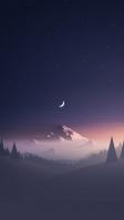 霧に包まれた雪山と三日月と星空のイラスト iPhone SE (第2世代) スマホ壁紙・待ち受け