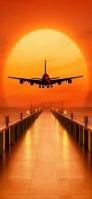 夕日 桟橋 飛行機 iPhone 11 スマホ壁紙・待ち受け