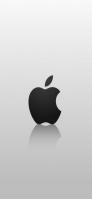 白地 黒いアップルロゴ iPhone 11 スマホ壁紙・待ち受け