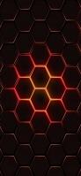 赤と黒の六角形 iPhone 11 スマホ壁紙・待ち受け