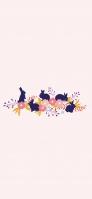 紺の兎 ピンクの花 薄いピンクの背景 OPPO Reno A Android スマホ壁紙・待ち受け