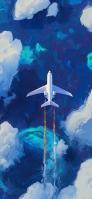 空飛ぶ飛行機 綺麗な空 油絵 iPhone 12 スマホ壁紙・待ち受け